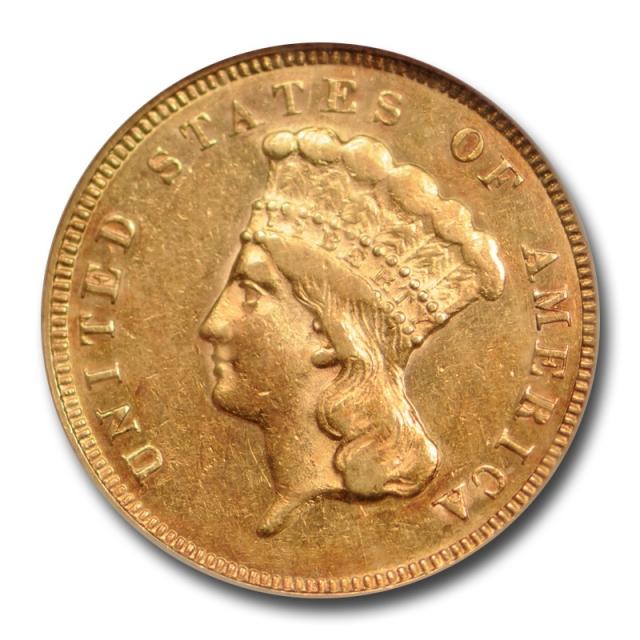 1874 $3 Three Dollar Princess Head Gold Piece NGC AU 55 About Uncirculated Cert#7010