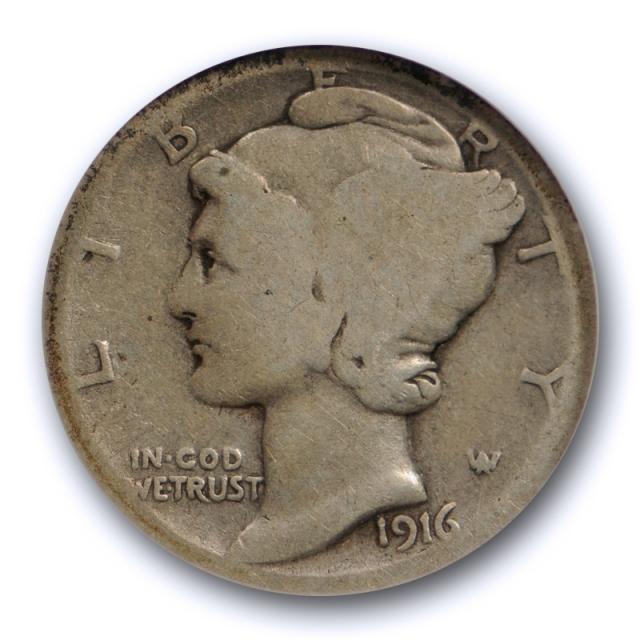 1916 D 10c Mercury Dime NGC AG 3 About Good Denver Mint Key Date Cert#1003
