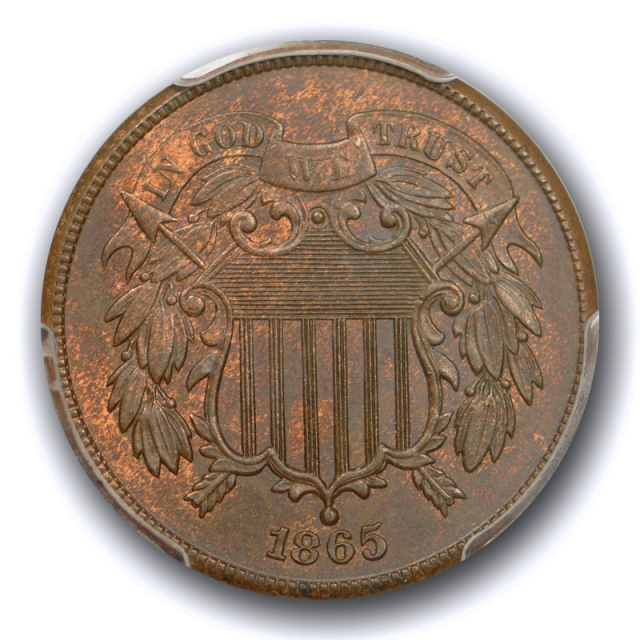 1865 2C Two Cent Piece PCGS MS 64 BN Uncirculated Brown US Type Coin