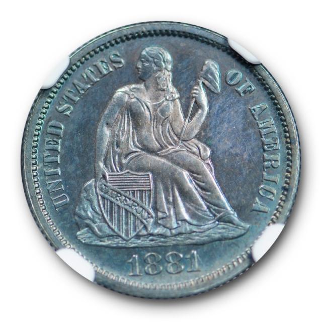 1881 10c Seated Liberty Dime NGC PF 65 Proof PR Key Date Purple / Blue Toned
