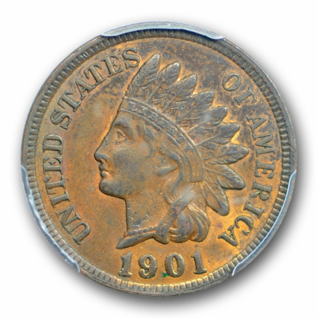1901 1C Indian Head Cent PCGS MS 63 RB Uncirculated Red Brown US Coin