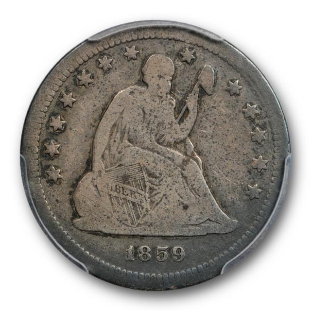 1859 S 25C Seated Liberty Quarter PCGS VG 10 Very Good to Fine Key Date Original ! Cert#7661
