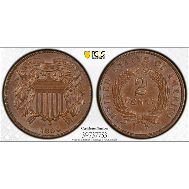 1864 2C Small Motto Two Cent Piece PCGS MS 64 BN CAC Approved Key Variety !