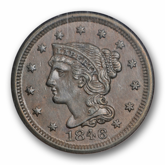 1846 Braided Hair Large Cent Small Date N-2 1C NGC MS 62 BN Uncirculated Cert5002