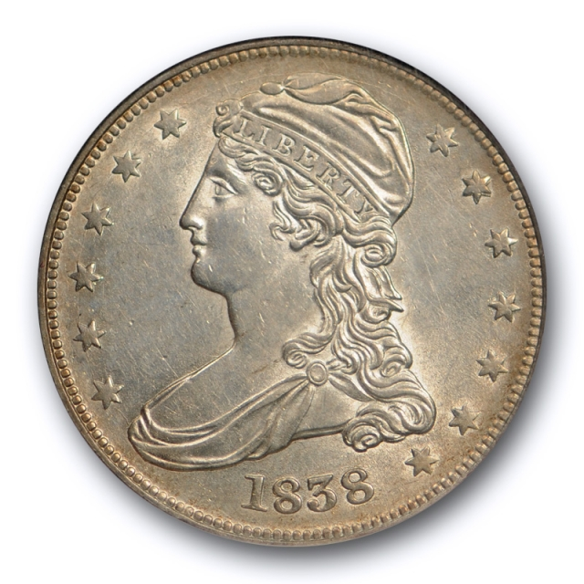 1838 50c Capped Bust Reeded Edge Half Dollar NGC AU 58 CAC Approved Jules Reiver Collection