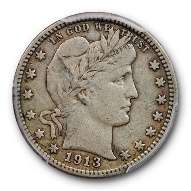 1913 25C Barber Quarter PCGS VF 35 Very Fine to Extra Fine Better Date P Mint Toned