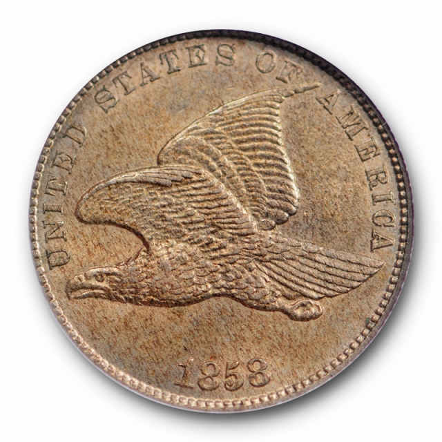 1858 1c Flying Eagle Cent NGC MS 63 Uncirculated CAC Approved Small Letters SL
