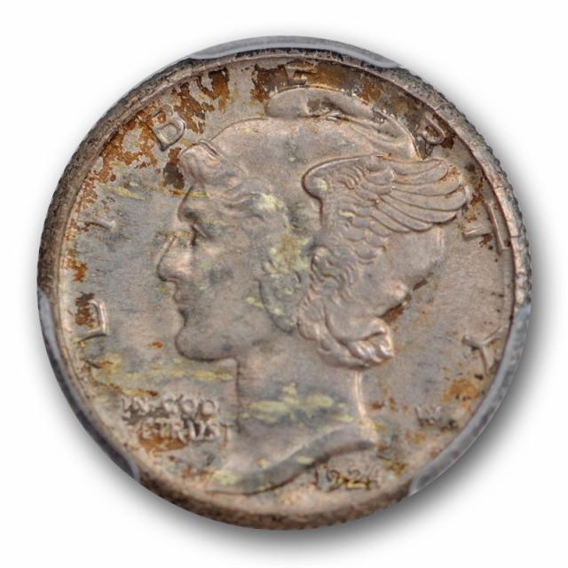 1924 S 10C Mercury Dime PCGS MS 65 Uncirculated San Francisco Mint Original Toned