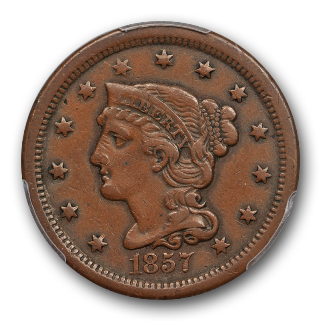 1857 1C Small Date Braided Hair Large Cent PCGS XF 45 Extra Fine + Cert#3799