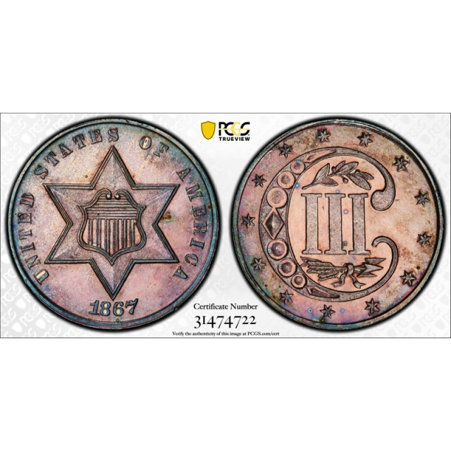 1867 3CS Three Cent Silver PCGS PR 64 Proof Key Date CAC Approved Pink Toned Beauty !