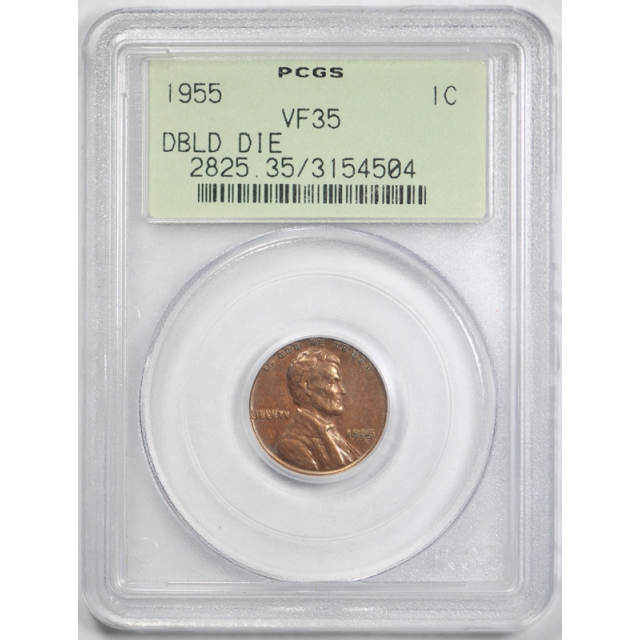 1955 Double Die Obverse Lincoln Cent PCGS VF 35 1955/1955 DDO Undergraded OGH !