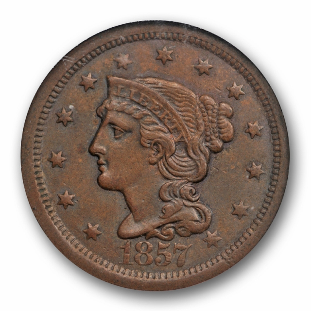 1857 1C Large Date Braided Hair Large Cent NGC MS 62 BN Uncirculated Key Date Last Year
