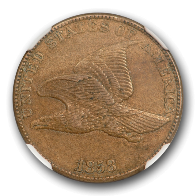 1858 1c Large Letters Flying Eagle Cent NGC AU 58 About Uncirculated Original