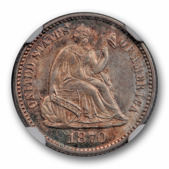1870 Seated Liberty Half Dime NGC MS 64 Uncirculated Pretty Toned US Type Coin !