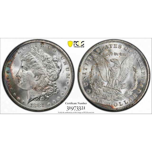 1881 CC $1 Morgan Dollar PCGS MS 65 Uncirculated Carson City Mint Toned !