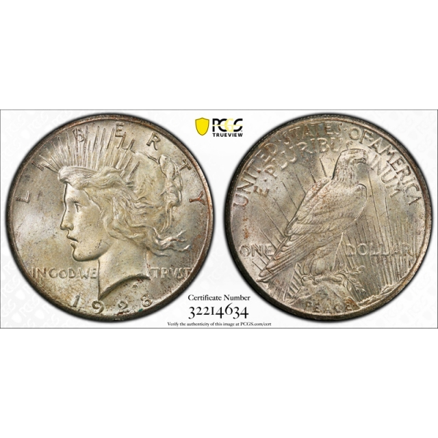 1928 $1 Peace Dollar PCGS MS 64 Uncirculated Key Date CAC Approved !