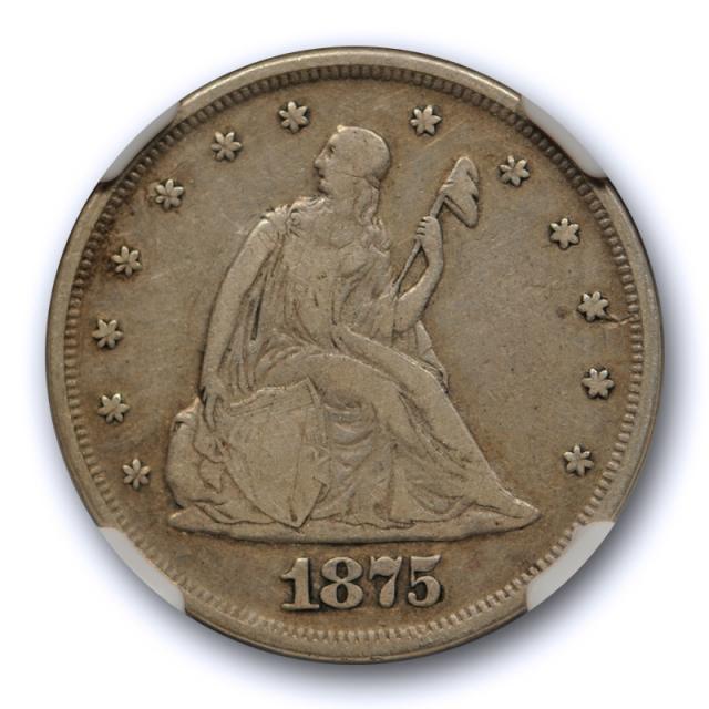1875 20c Twenty Cent Piece NGC VF 20 Very Fine Low Mintage US Coin