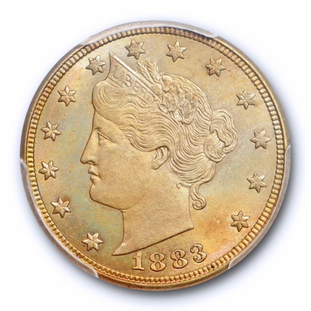1883 5C With Cents Liberty Head Nickel PCGS MS 65 Uncirculated Toned Attractive !