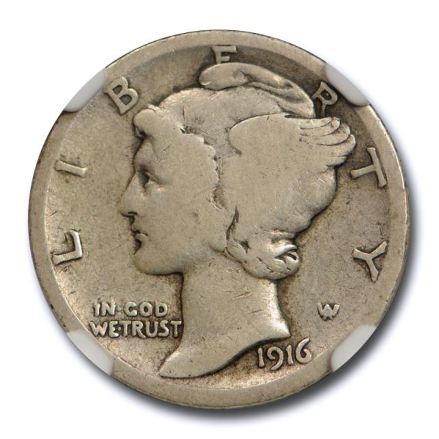 1916 D 10C Mercury Dime NGC VG 8 Very Good Denver Mint Key Date CAC Approved Cert#7006