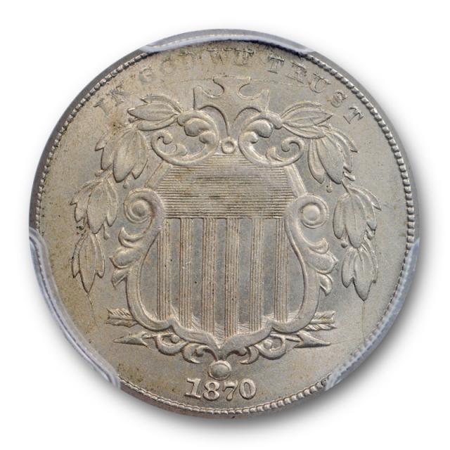 1870 5C Shield Nickel PCGS MS 63 Uncirculated Better Date Tough Grade Original