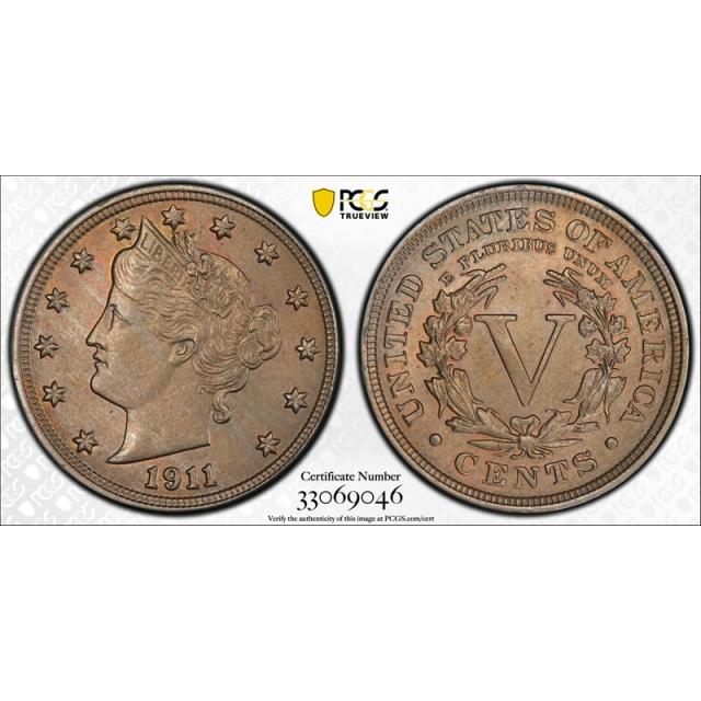 1911 5C Liberty Head Nickel PCGS MS 65 Uncirculated Lightly Toned Original