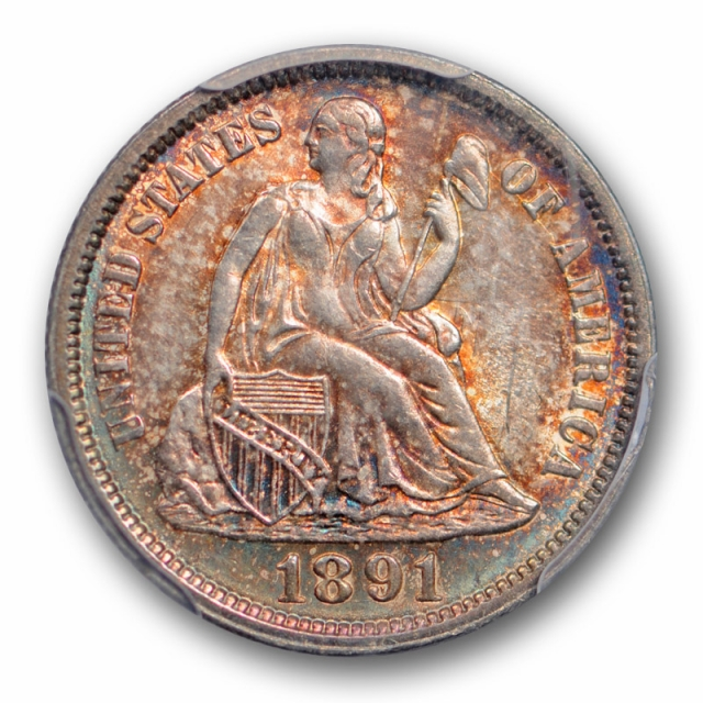 1891 10C Seated Liberty Dime PCGS MS 65 Uncirculated Toned Beauty Nice !