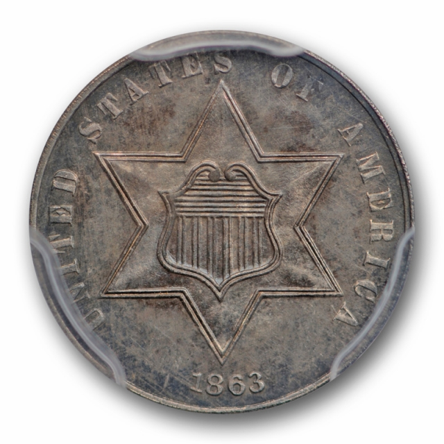 1863 3CS Three Cent Silver Piece PCGS MS 64 Uncirculated Key Date Rare !