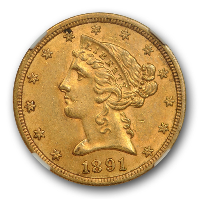 1891 CC $5 Liberty Head Half Eagle Gold Piece NGC AU 58 CAC Approved Cert#8004