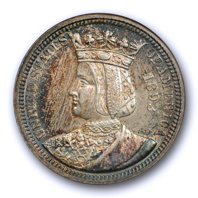 1893 25c Isabella Quarter NGC MS 62 Toned Old Fatty Holder Pretty !
