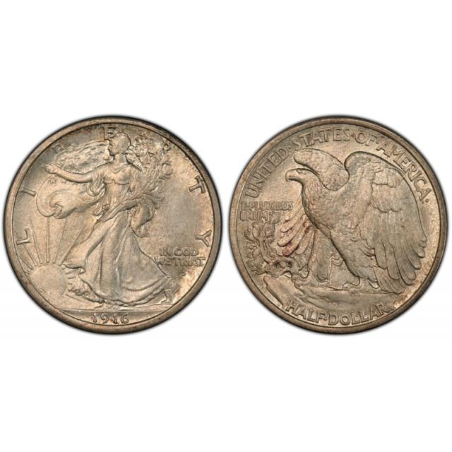 1916 D 50C Walking Liberty Half Dollar PCGS MS 63 Uncirculated Denver Cert#3800