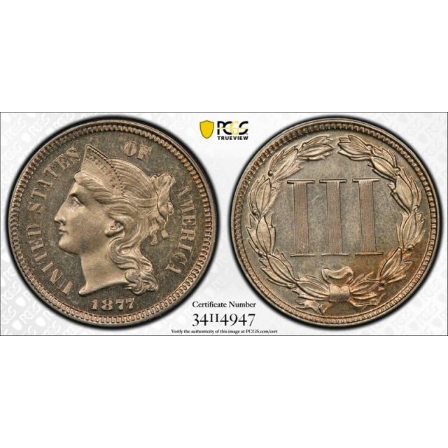 1877 3CN Three Cent Nickel Proof PCGS PR 64 PF Only Issue Key Date Light Cameo? Original