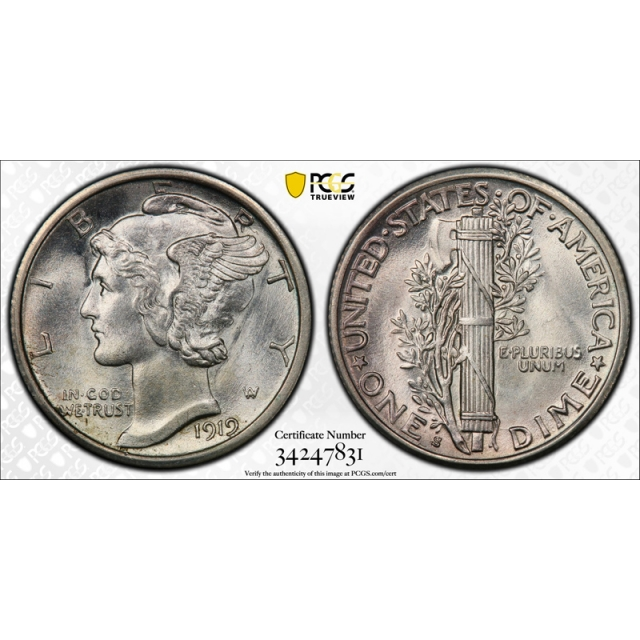 1919 S 10C Mercury Dime PCGS MS 65 Uncirculated CAC Approved Stunning Coin !
