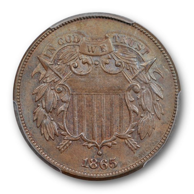1865 2C Two Cent Piece PCGS MS 65 BN Uncirculated Brown Lightly Toned Pretty !