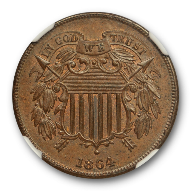 1864 2c Large Motto Two Cent Piece NGC MS 64 BN Uncirculated Brown Nice !