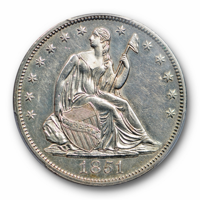 1851 50C Seated Liberty Half Dollar PCGS AU 58 About Uncirculated Tough