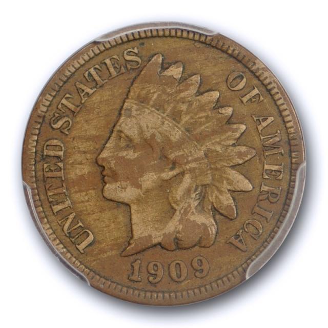 1909 S 1C Indian Head Cent PCGS F 12 San Francisco Mint Key Date Wood Grain Toned