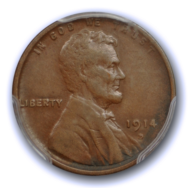 1914 D 1C Lincoln Wheat Cent PCGS VF 35 Very Fine to Extra Fine Key Date Sharp Detail !