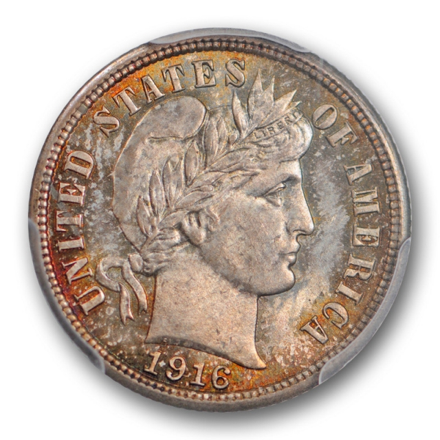 1916 10C Barber Dime PCGS MS 66 Uncirculated High Toned Beauty Pretty Coin !
