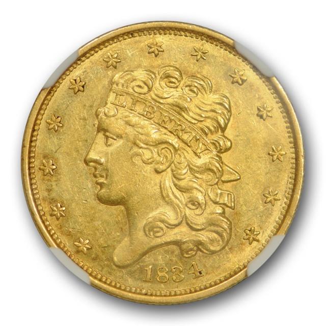 1834 $5 Classic Head Half Eagle Plain 4 NGC MS 60 Uncirculated Flashy !