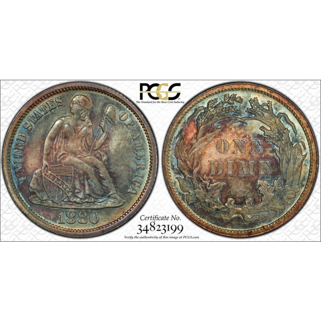 1880 10C Seated Liberty Dime PCGS MS 67 Monster Toned Beauty Stunning