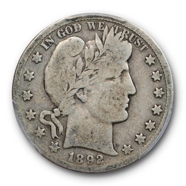 1892 S 50C Barber Half Dollar PCGS VG 8 Very Good San Francisco Mint Key Date Original
