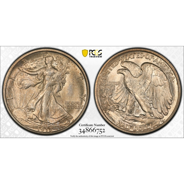 1918 D 50C Walking Liberty Half Dollar PCGS MS 63 Uncirculated Golden Toned !