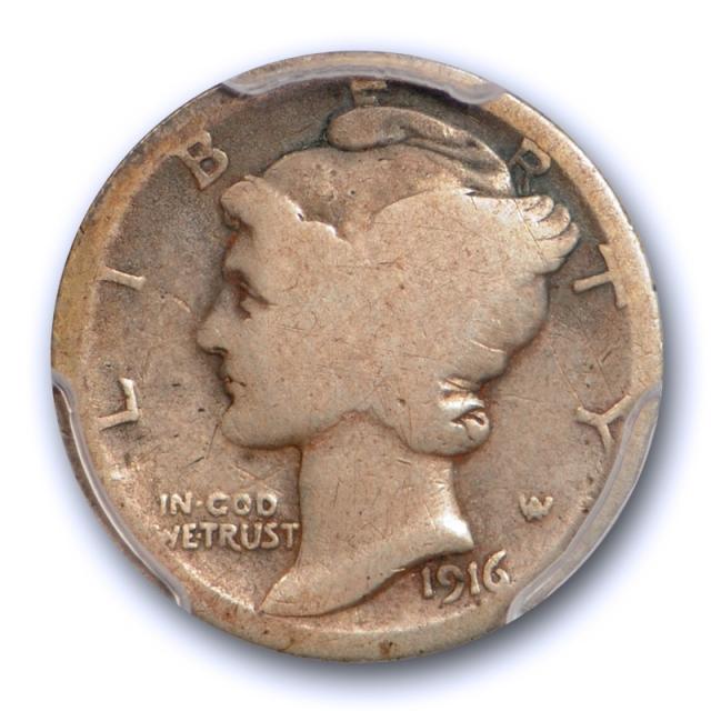 1916 D 10C Mercury Dime PCGS AG 3 About Good Denver Mint Key Date Cert#5228