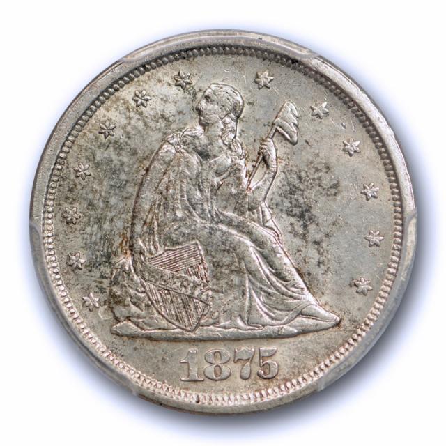 1875 S 20C Twenty Cent Piece PCGS MS 62 Uncirculated Toned Obverse US Type Coin Cert#0108