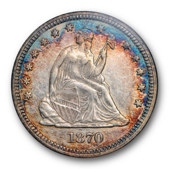 1870 25C Seated Liberty Quarter ANACS AU 50 About Uncirculated Colorful Toned Tough