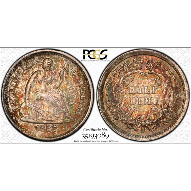 1867 S H10C Seated Liberty Half Dime PCGS MS 65 Toned Beauty Pop 5 !