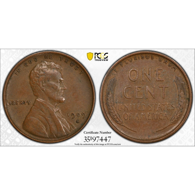 1909 S VDB 1C Lincoln Wheat Cent PCGS XF 40 Extra Fine CAC Approved Key Date !