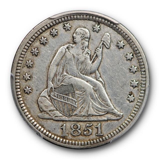 1851 25C Seated Liberty Quarter PCGS XF 45 Key Date Low Mintage Tough