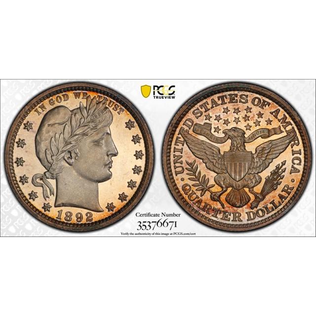 1892 25C Barber Quarter PCGS PR 64+ CAM Proof Cameo CAC Approved Nice !