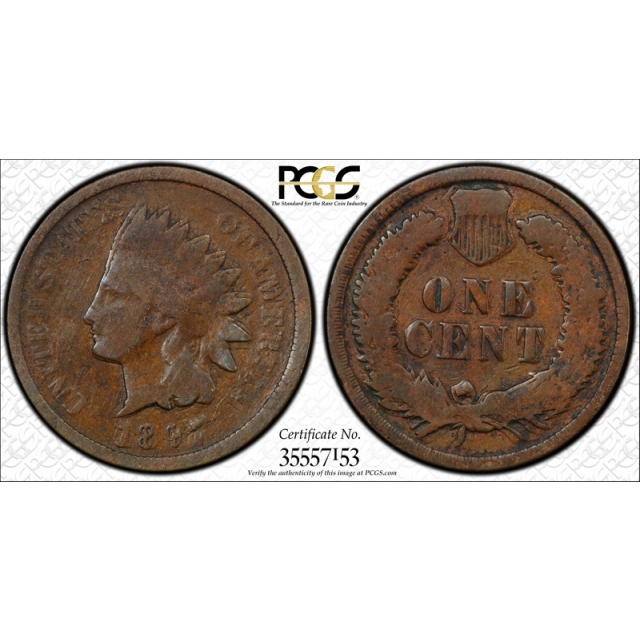 1897 1C Indian Head Cent PCGS G 6 Double Struck in Collar Mint Error Neat !